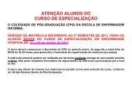 ATENÇÃO ALUNOS DO CURSO DE ESPECIALIZAÇÃO - Escola de ...