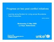 Progress on two post conflict initiatives