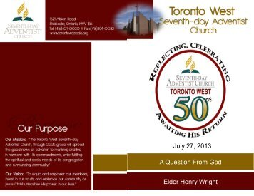 Bulletin - Toronto West Seventh Day Adventist Church