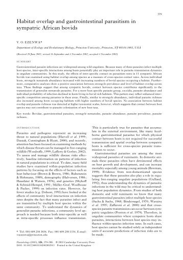 Habitat overlap and gastrointestinal parasitism in sympatric African ...