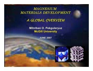 MAGNESIUM MATERIALS DEVELOPMENT A GLOBAL OVERVIEW