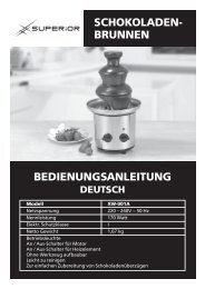 schokoladen- brunnen bedienungsanleitung - Superior