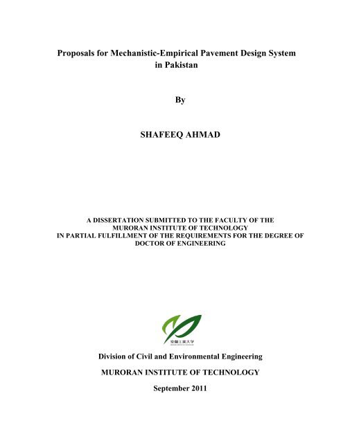Proposals For Mechanistic Empirical Pavement Design System In