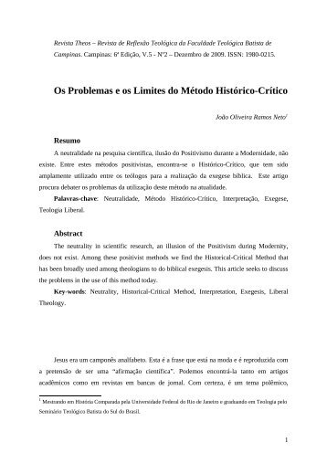 Os problemas e os limites do método histórico-crítico - Revista Theos