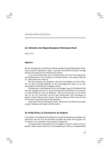 Zur Volkskultur des Magnesitbergbaues Hohentauern/Sunk