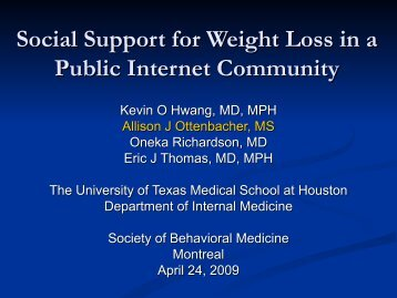 Social Support for Weight Loss in a Public Internet Community