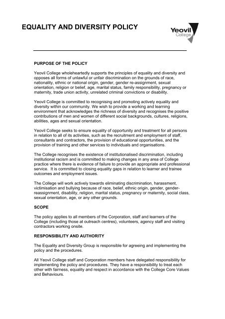 EQUALITY AND DIVERSITY POLICY - Yeovil College