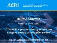 CTN ACRI v procesu tvorby norem pro kolejová vozidla a železniční ...