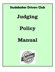 Judging Policy Manual - Studebaker Drivers Club