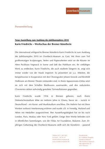 Pressemitteilung Karin Friedrichs - Overbeck-Museum