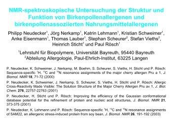 NMR-spektroskopische Untersuchung der Struktur und Funktion von ...