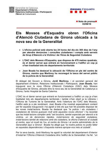 NOTA EN PDF - Premsa - Generalitat de Catalunya