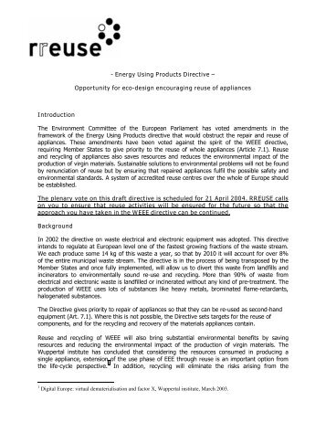 - Energy Using Products Directive – Opportunity for eco ... - Rreuse