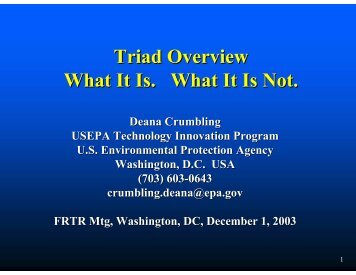 Triad Overview - Federal Remediation Technologies Roundtable