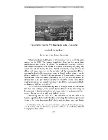 Postcards from Switzerland and Holland - Journal for the Study of ...
