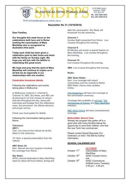 Newsletter No 31 (15/10/2010) - Saint Martin de Porres School