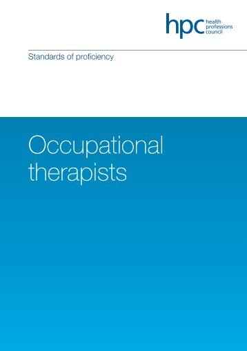 Standards of proficiency – Occupational therapists