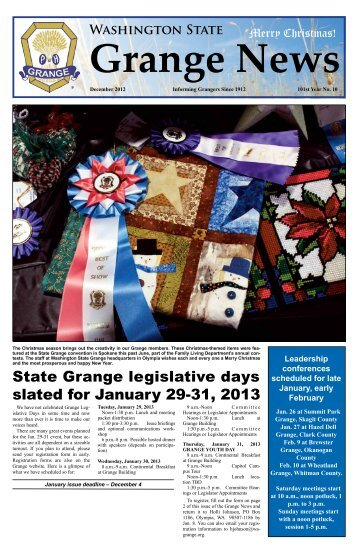 December 2012 Issue - Washington State Grange