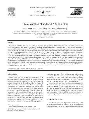 Characterization of sputtered NiO thin films - NT-MDT