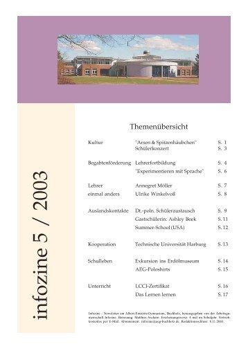 infozine 5 / 2003 - Albert Einstein Gymnasium
