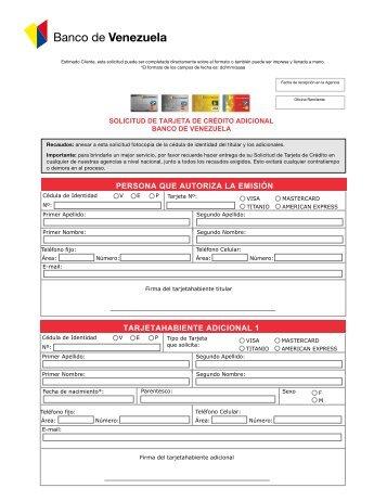 Solicitud de tarjeta s de cr dito cc for Banco de venezuela solicitud de chequera