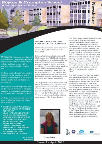Newsletter April 2010 - Royton and Crompton School