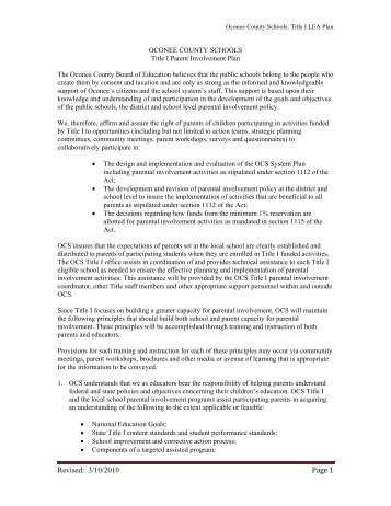 Revised: 3/10/2010 Page 1 - Oconee County Schools