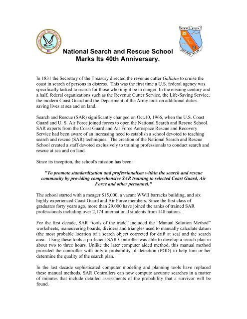 National Search and Rescue School Marks Its     - U S  Coast