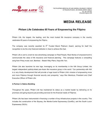 Philam Life Celebrates 65 Years of Empowering the Filipino - AIA.com