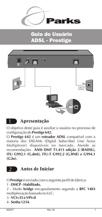 Guia do Usuário ADSL - Prestige - GVT