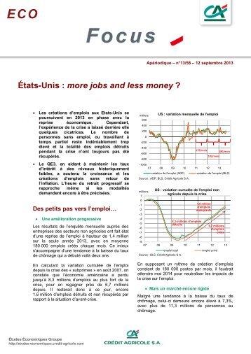 États-Unis : more jobs and less money ? - Etudes économiques du ...