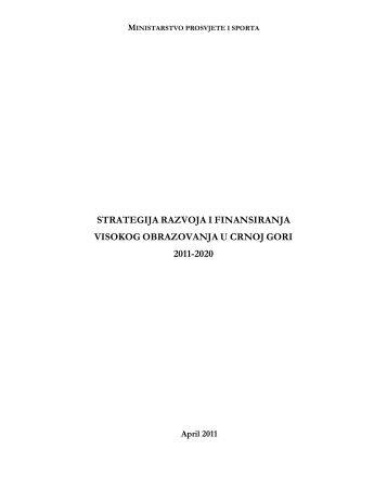 strategija razvoja i finansiranja visokog obrazovanja u ... - ERI SEE