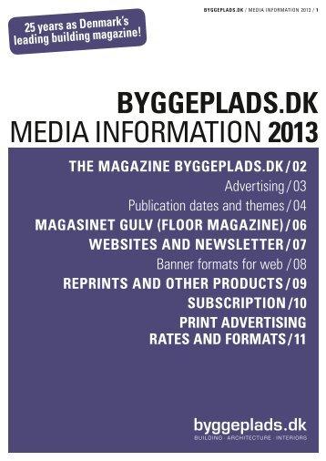 BYGGEPLADS.DK MEDIA INFORMATION 2013