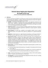 Domain Name Registration Regulation for Saudi ccTLD (.sa)