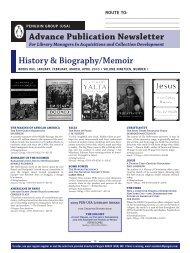 Advance Publication Newsletter History ... - Penguin Group