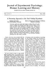Journal of Experimental Psychology - American Psychological ...