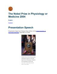 The Nobel Prize in Physiology or Medicine 2004 Presentation Speech