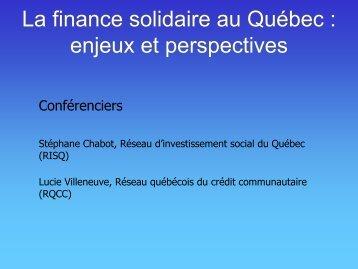 La finance solidaire au Québec : enjeux et perspectives