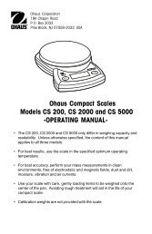 Ohaus Compact Scales Models CS 200, CS 2000 and ... - HKR-Welt