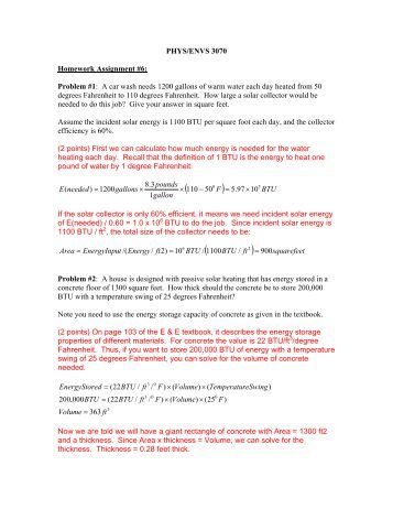 PHYS/ENVS 3070 Homework Assignment #6: Problem #1: A car ...