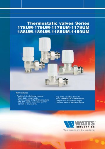 Thermostatic valves Series 178UM-179UM ... - Watts Industries