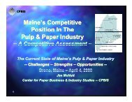 Maine's Competitive Position In The Pulp & Paper Industry, A ...