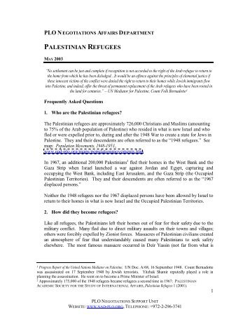 Frequently Asked Questions on Refugees - the Palestinian Refugee ...