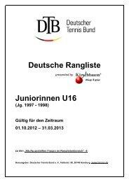 Deutsche Rangliste Juniorinnen U16 - Deutscher Tennis Bund