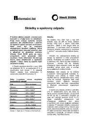 Skládky a spalovny odpadu (informační list, prosinec ... - Hnutí DUHA