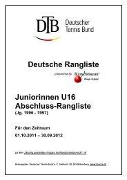 Juniorinnen U16 Abschluss-Rangliste - Deutscher Tennis Bund