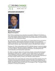 SPEAKER BIOGRAPHY - Driving Change: Greening the Automotive ...