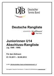 Juniorinnen U14 Abschluss-Rangliste - Deutscher Tennis Bund