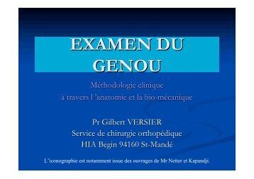 EXAMEN CLINIQUE DU GENOU - ClubOrtho.fr