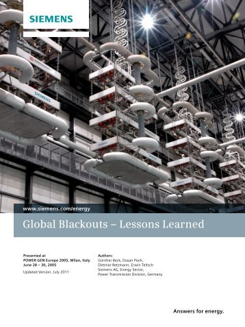 Global Blackouts – Lessons Learned - Siemens